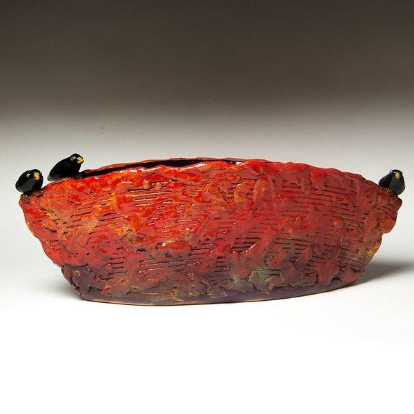 "Barry Gregg Barry Gregg, Large Serving Ark, handbuilt earthenware, glaze, 7 x 19 x 7.25"""