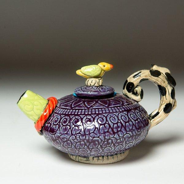 """Barry Gregg Barry Gregg, Purple Short """"Spot of Tea"""", handbuilt earthenware, glaze, 4.5 x 7.25 x 5"""""""