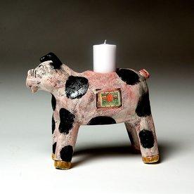 """Barry Gregg Barry Gregg, Pig Candlestick, handbuilt earthenware, glaze, 7 x 8.5 x 4"""""""