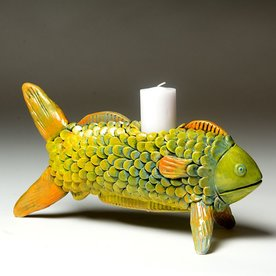 """Barry Gregg Barry Gregg, Fish Candlestick, handbuilt earthenware, glaze, 6 x 11.25 x 4.75"""""""