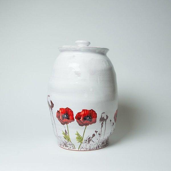 "Justin Rothshank Justin Rothshank, Large Lidded Jar, earthenware, 16 x 10"" dia"