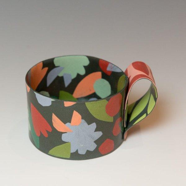 "Lydia Johnson Lydia Johnson, Mug, hand built, double-sided color clay slabs, 2.75 x 4.75 x 3.5"""
