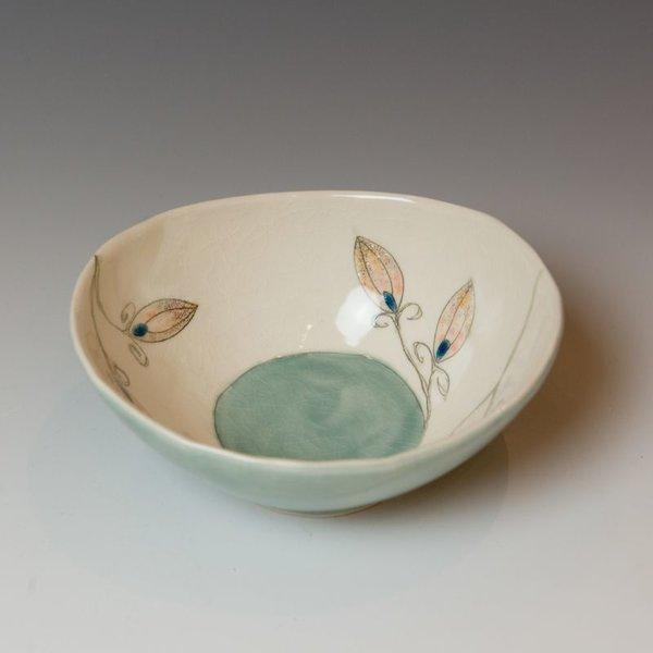 """Annette Gates Annette Gates, Buds Bowl, Porcelain, combined handbuilt and slip-cast elements, 2.5 x 5.75 x 5.25"""""""