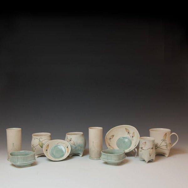 "Annette Gates Annette Gates, Buds Mug, Porcelain, combined handbuilt and slip-cast elements, 4.25 x 4.5 x 2.75"""