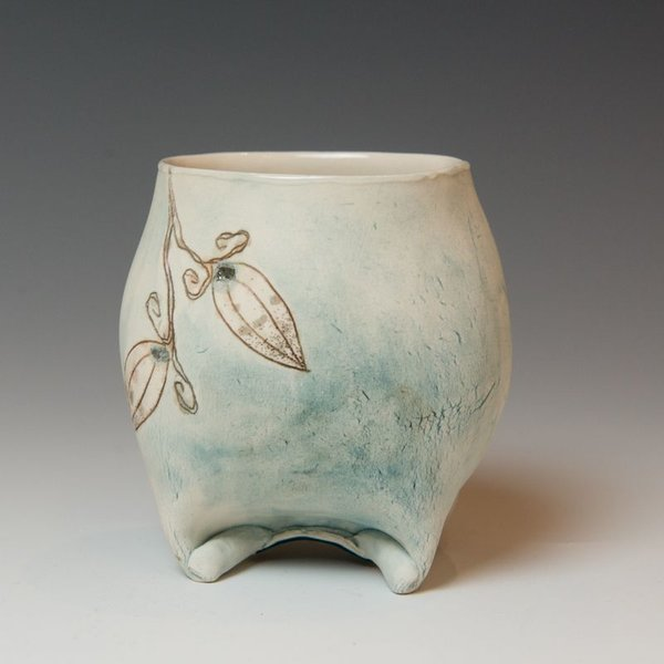"""Annette Gates Annette Gates, Buds Wine Cup, Porcelain, combined handbuilt and slip-cast elements, 3.75 x 3.5 x 3"""""""