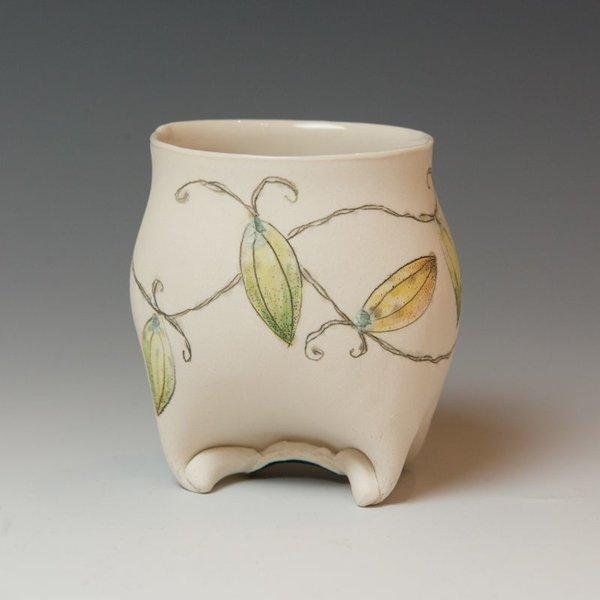 """Annette Gates Annette Gates, Buds Wine Cup, Porcelain, combined handbuilt and slip-cast elements, 3.75 x 3.5 x 2.75"""""""