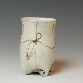 Annette Gates SOLD Annette Gates, Small Rolled Foot Buds Tumbler, Porcelain, combined handbuilt and slip-cast elements, 3.5 x 2.75 x 2.5""
