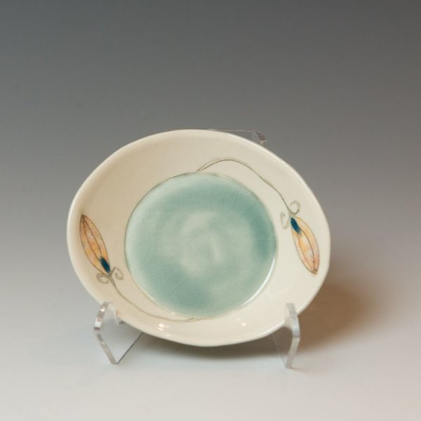 Annette Gates Annette Gates, Small Buds Side Dish, Porcelain, combined handbuilt and slip-cast elements, 1.25 x 4.25 x 3.75""