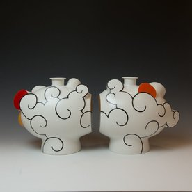 "Sam Chung Sam Chung, Cloudscape; porcelain, glaze, 11.5 x 23 x 8"""