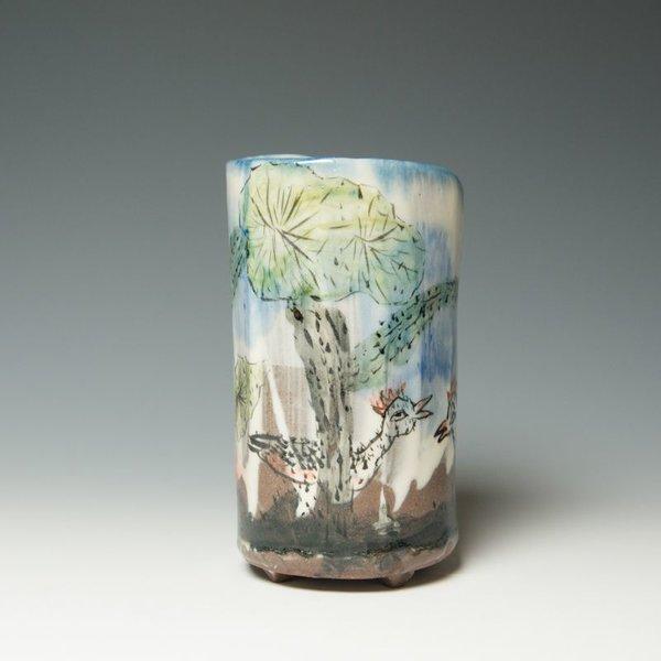 "Sunkoo Yuh Sunkoo Yuh, Cylinder, handbuilt, porcelain, 7 x 3.5"""