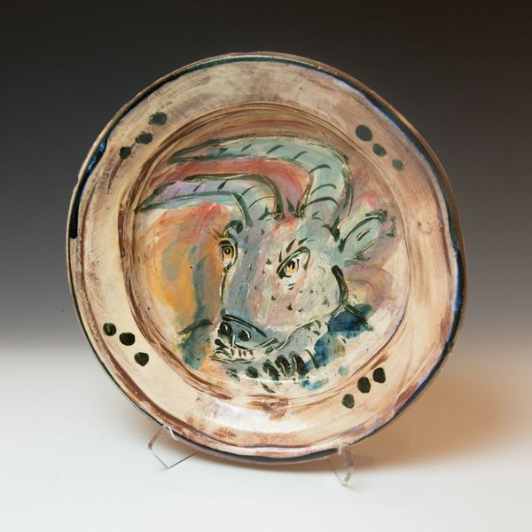 "Ron Meyers, Goat Bowl, earthenware, 2.5 x 12.75"" dia"