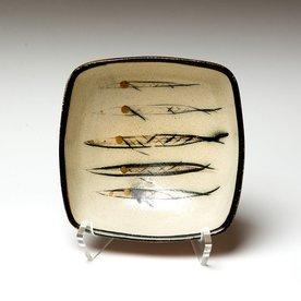 "Michael Simon Michael Simon, Squared Bowl, Fish, stoneware, glaze, slip, salt-fired, 3 x 6.5 x 6.5"""