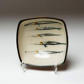 "Michael Simon Michael Simon, Squared Bowl, Fish, stoneware, glaze, slip, salt-fired, 3 x 6.75 x 6.5"""