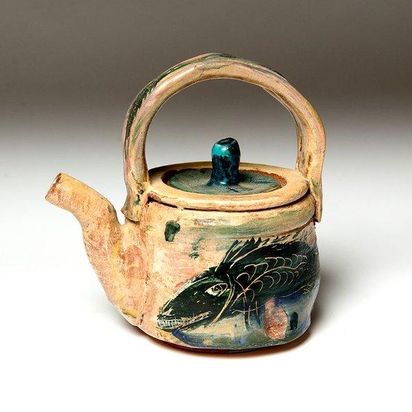 "Ron Meyers, Teapot, Black Fish,<br /> 7.75 x 7.75 x 5"""
