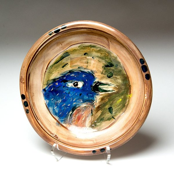 "Ron Meyers, Bowl with Bluebird,<br /> 3"" x 11"" dia"