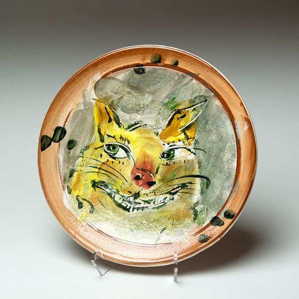 Ron Meyers, Small Plate, Cat, 9""