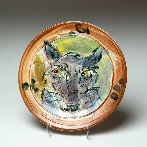 Ron Meyers, Small Plate, Wolf, 9.25""