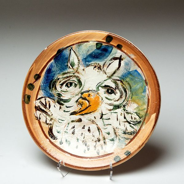 """Ron Meyers, Small Plate, Owl,<br /> 8.75"""""""