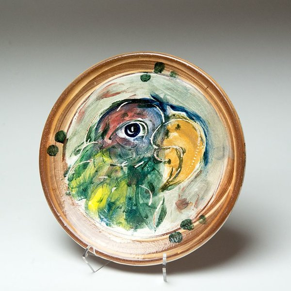 """Ron Meyers, Small Plate, Parrot,<br /> 8.75"""""""