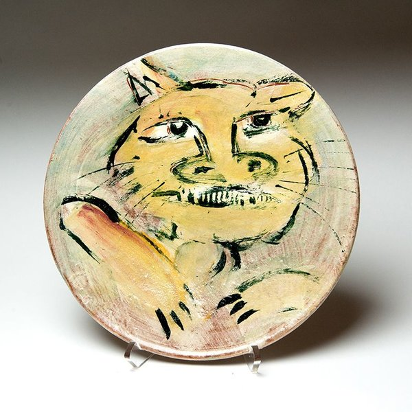 """Ron Meyers, Dinner Plate with Cat, earthenware, 11"""""""
