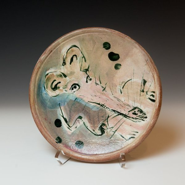 """Ron Meyers, Small Plate with Rat, earthenware, 8.5"""""""