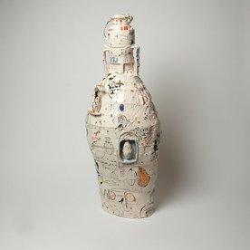 "Ted Saupe Ted Saupe, Tall Lidded Jar, handbuilt porcelain, 28 x 11.5"" dia"