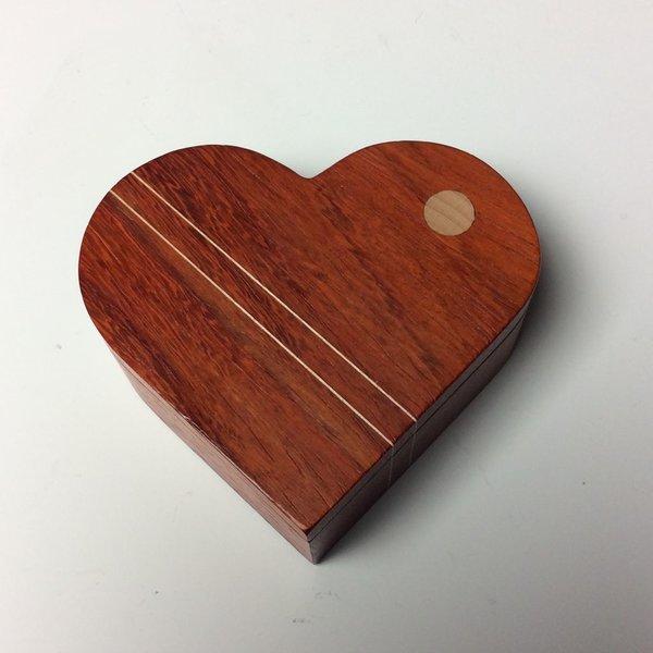 """Doug Pisik Doug Pisik, Paduk Double Line Heart Box, paduk, maple, 1.5 x 4 x 4.5"""""""