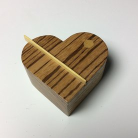 Doug Pisik Doug Pisik, Heart Box, zebrawood, yellow heart, 2 x 4 x 4.25""