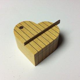 "Doug Pisik, Heart Box, yellowheart, walnut, veneer, 2 x 4.25 x 4"""