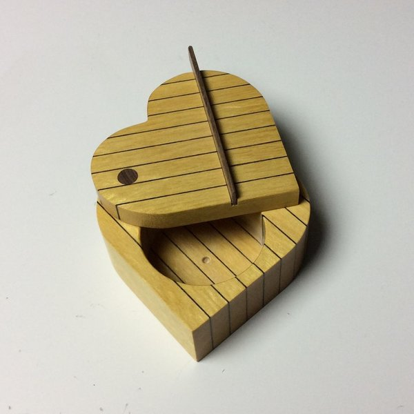 "Doug Pisik, Leopard Stripe Heart Box, leopard wood, yellow wood, 1.5 x 3.5 x 3.25"""