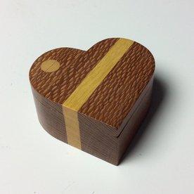 "Doug Pisik Doug Pisik, Heart Box, leopardwood, yellowwood, 1.5 x 3.5 x 3.25"""