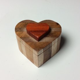 Doug Pisik Doug Pisik, Heart Box, cherry, bloodwood, found wood, 2 x 3.5 x 4""