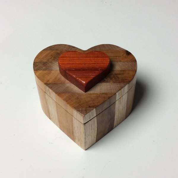 Doug Pisik, Layered Lift Lid Heart Box, various woods, 10.75 x 6.75 x 6.75
