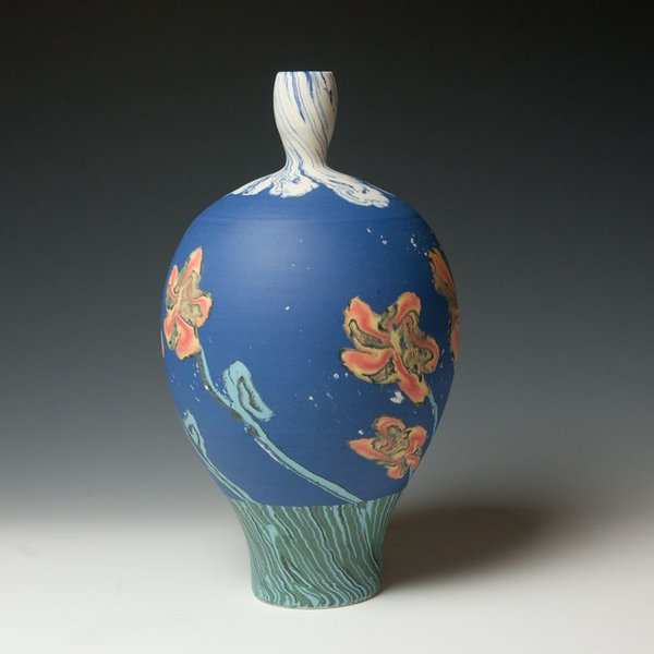 """Cory Brown Cory Brown, Bottle, wheel-thrown inlayed porcelain, 14 x 8"""" dia"""