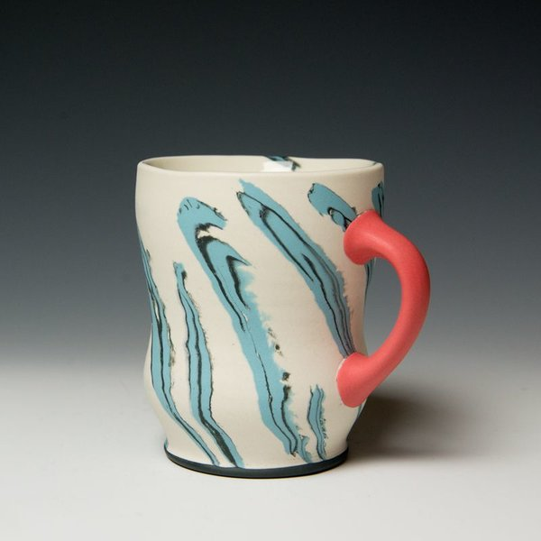 Cory Brown Cory Brown, Mug, wheel-thrown inlayed porcelain, 4.75 x  4.5 x 3.5""