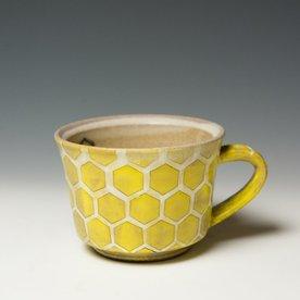 """Masa Sasaki Masa Sasaki, Turtle Shell Mug, black mountain clay, glaze, 3 x 5.25 x 4.25"""""""