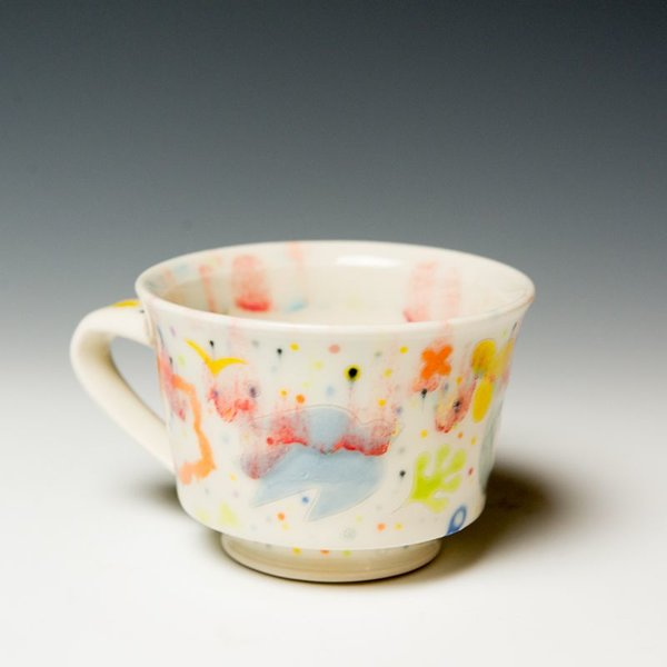 "Masa Sasaki Masa Sasaki, Princess Mug w'Deer Motif, stoneware, glaze, 3 X 5 x 4"""