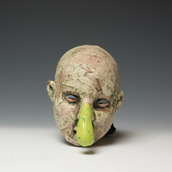 Tom Bartel Tom Bartel, Head with Green Nose, 7x5.5x7""