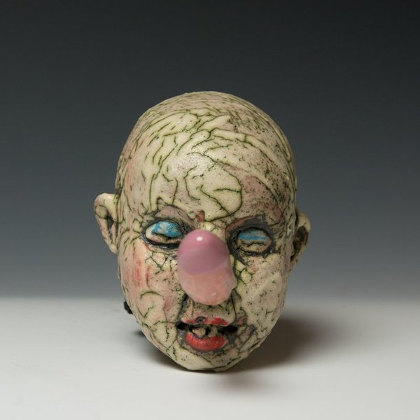 Tom Bartel, Fertility Head 2, clay, glaze, 7 x 7.5 x 4.5""