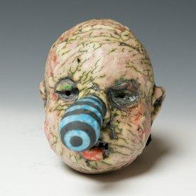 """Tom Bartel Tom Bartel, Medium Head with Blue/Black Striped Nose , 3.75 x 3.5 x 3.5"""""""