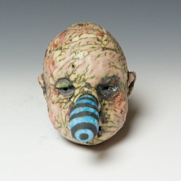 Tom Bartel Tom Bartel, Medium Head with Blue/Black Striped Nose , 3.75 x 3.5 x 3.5""
