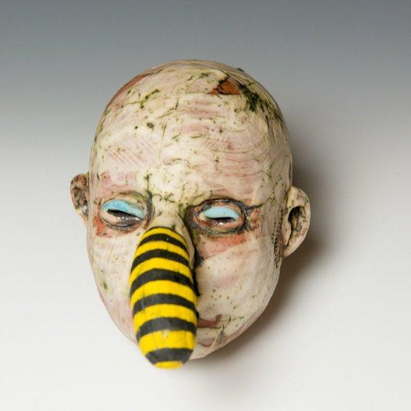 "Tom Bartel Tom Bartel, Head with Yellow/Black Stripe Nose, 5.75 x 4.5 x 6.5"""