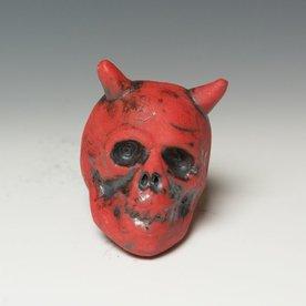 """Tom Bartel Tom Bartel, Red Devil Skull , 3.5 x 2.75 x 3.5"""""""