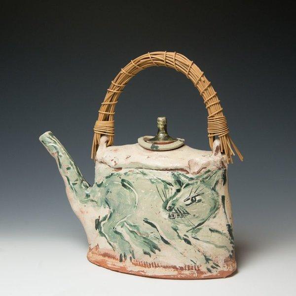 "Ron Meyers, Teapot /Femme & Rat, earthenware, 13.5 x 13 x 5"""