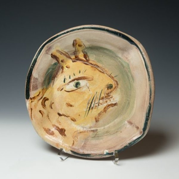 "Ron Meyers, Bowl with Cat, earthenware, 1.75 x 10"" dia"