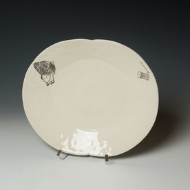 David Eichelberger David Eichelberger, Heart & Needle Plate, porcelain, glaze, iron oxide decal, 1.75 x 12 x 10""