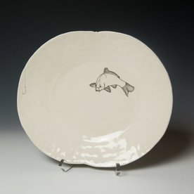 David Eichelberger David Eichelberger, Dinner Plate with Fish & Hook, porcelain, glaze, iron oxide decal, 1.75 x 12 x 10""