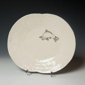 "David Eichelberger David Eichelberger, Dinner Plate with Fish & Hook, porcelain, glaze, iron oxide decal, 1.75 x 12 x 10"""