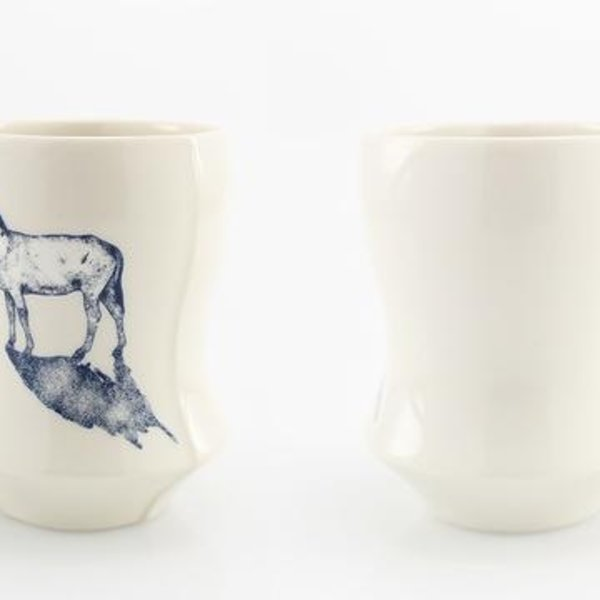"The Democratic Cup The Democratic Cup, Refelction Cup, Image by Lauren Gallaspy and Cup designed by Peter Pincus, porcelain 4 1/4"" x 3 1/4"" x 3 1/4"" , 14 fl oz"