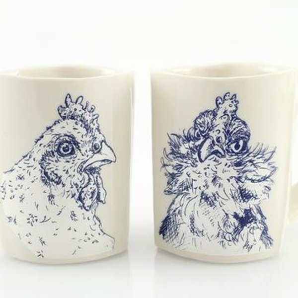 "The Democratic Cup The Democratic Cup, Cluck Hate, Image by Nikki Mizak and Cup designed by Adam Gruetzmacher, porcelain 4 1/8"" x 4 7/8"" x 3 1/4"", 12 fl oz"